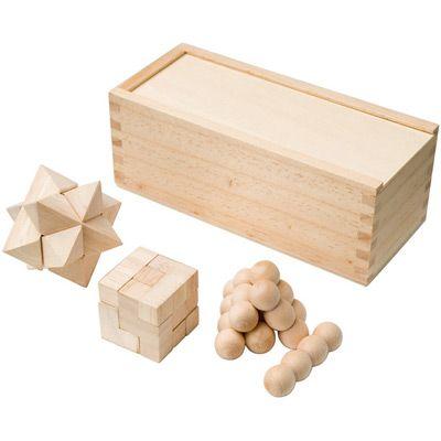 Łamigłówki drewniane - 3 wzory - w etui