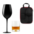 Case for Couple with Wine and Whisky Glasses Froster Black