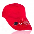 Solar cap with fan - Red